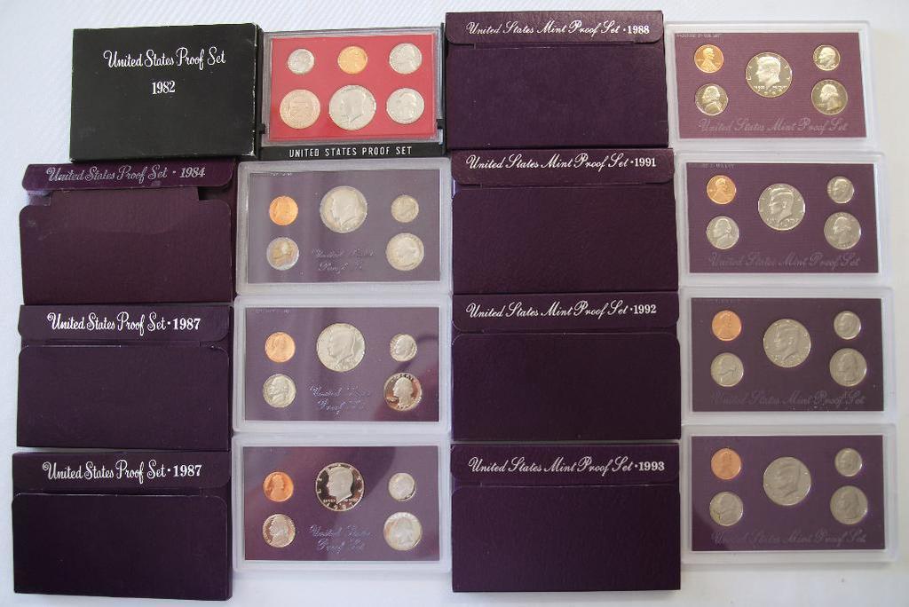 U.S. Mint 1982, 1984, (2) 1987, 1988, 1991, 1992, 1993 Proof Sets