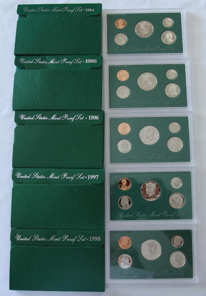 U.S. Mint 1994, 1995, 1996, 1997, 1998 Proof Sets