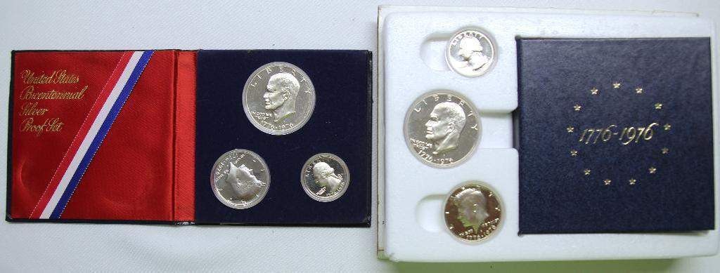 U.S. Mint (2) 1976 Bicentennial Silver Proof Sets - One with Box