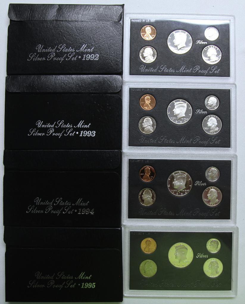 U.S. Mint 1992, 1993, 1994, 1995 Silver Proof Sets