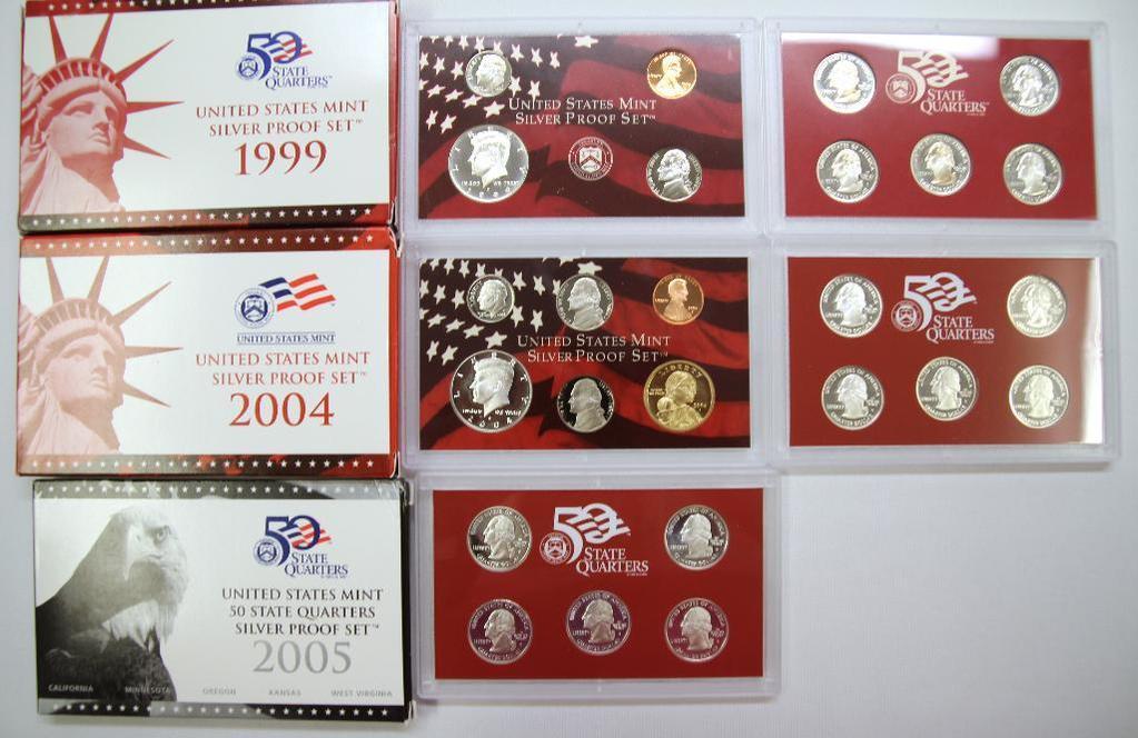 U.S. Mint 1999, 2004 Silver Proof Sets and U.S. Mint 2005 State Quarters Silver Proof Set