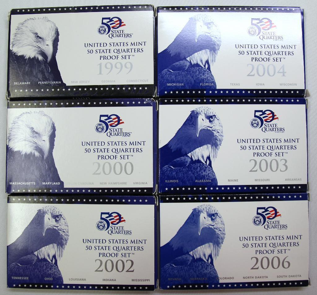 U.S. Mint 1999, 2000, 2002, 2003, 2004, 2006 State Quarters Proof Sets