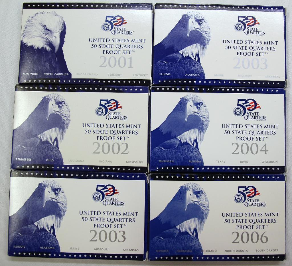 U.S. Mint 2001, 2002, (2) 2003, 2004, 2006 State Quarters Proof Sets