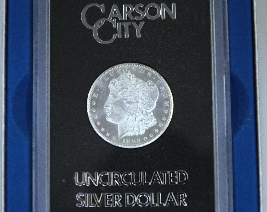 1882CC Uncirculated Silver Dollar in GSA Case