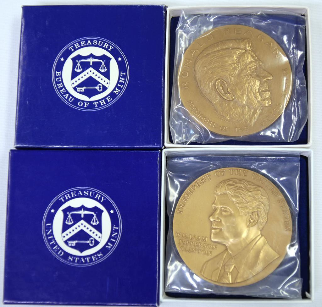 (2) U.S. Mint Presidential Series Medals - President Bill Clinton and President Ronald Reagan