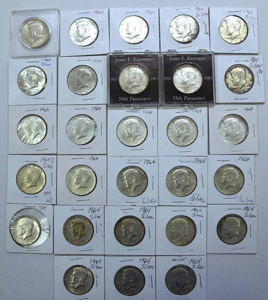 (28) 1964 90% Silver Kennedy Half Dollars