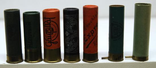 8 Mixed Collectible European Paper Shotshells - Kynoch 16 Ga. Magic Shell, Bismuth Eley 12 Ga., M.