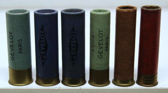 6 Mixed Collectible European Paper Shotshells - 3 Loaded Gevelot - Paris 14 Ga., Gevelot - Paris