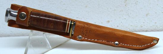 "Ka-bar No. 1228 Hunting Knife with Leather Sheath, 3 5/8"" Blade, 7 1/8"" Overall"