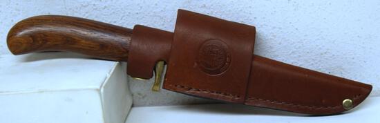 "Custom Made Fixed Blade Hunting Knife with Knives of Alaska Leather Sheath, 4 1/8"" Blade, 8 3/4"""