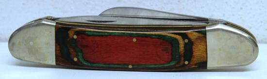 """Large Unmarked 3 Blade Folding Knife, 8 3/8"""" Long Overall while Closed"""