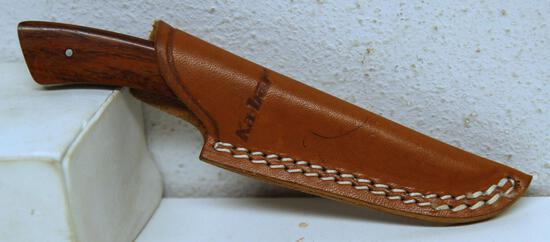"Ka-bar No. 1228 Fixed Blade Hunting Knife with Leather Sheath, 2 3/4"" Blade, 6"" Overall"