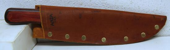 """Unmarked Custom Made Fixed Blade Hunting Knife with Leather Sheath, 5 5/8"""" Blade, 10 1/4"""" Overall"""