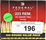 Federal 100 Round Value Pack .223 REM 55 Gr. FMJ