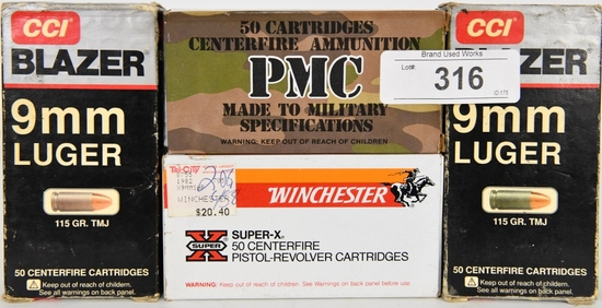 158 RDS OF 9MM LUGER CARTRIDGES
