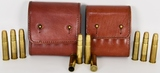 EIGHT .475 TURNBULL ROUNDS WITH TWO LEATHER BELT .