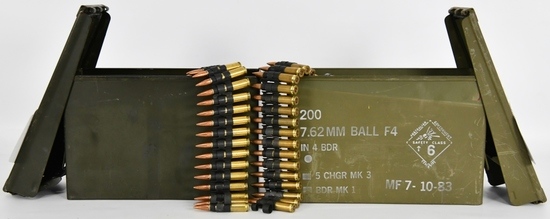 356 Rounds of Belt Linked .308 Ammo in 2 Cans