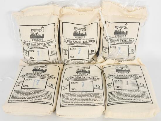 (6) 10lb Bags Super Sam Steel Shot #7