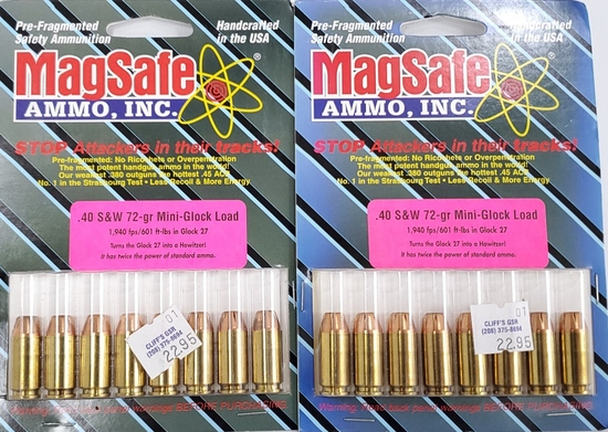 16 Rounds Of MagSafe .40 S&W Mini Glock Load Ammo
