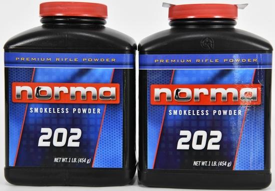 Lot of 2 Bottles - New - NORMA 202 RFL POWDER 1LB