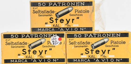 150 rds Steyr Marca Avion 9 M/M Pistole Ammo