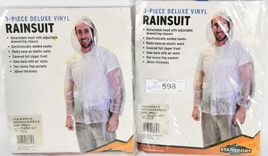 Lot of 2 Stansport Men's Vinyl Rainsuit w/hood sm