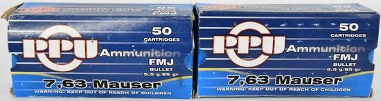 100 Rounds Of PPU 7.63 Mauser Ammunition