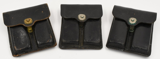 Lot of 3 US Marked Leather Mag Pouches
