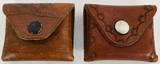 Lot of 2 Hand Tooled Leather Pouches