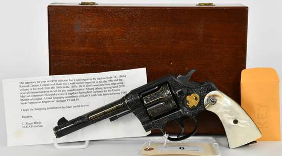 Engraved & Inlayed Colt New Service Revolver .44