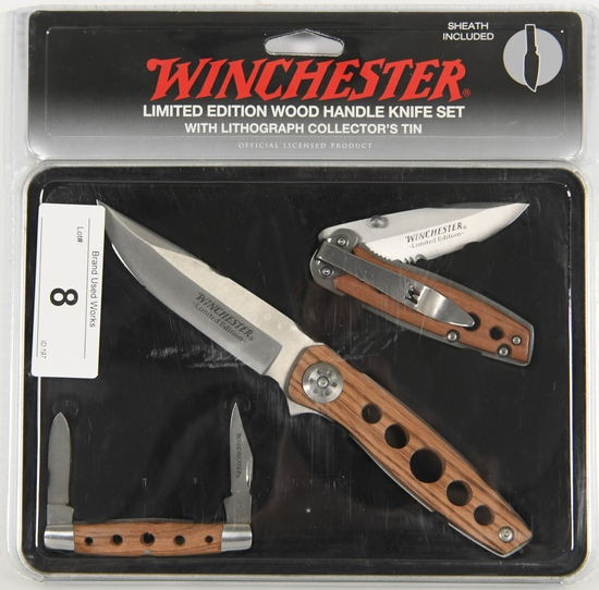 NIP Winchester LE Wood Handle 3 pc Knife Set