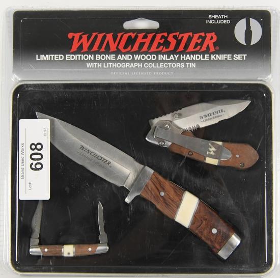 NIP Winchester LE Wood Handle 3 pc Knife Set