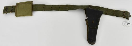 WWII US Army USMC M36 Pistol Utility Belt w/1911 H