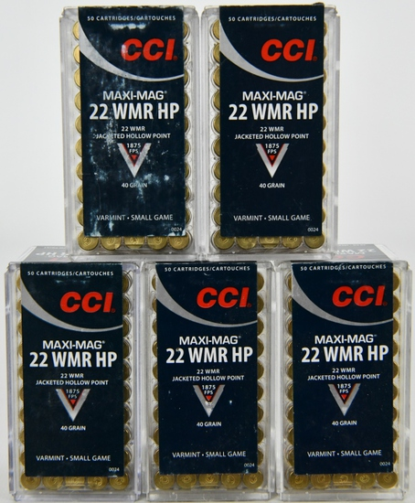 250 Rounds Of CCI Maxi-Mag .22 WMR Ammunition