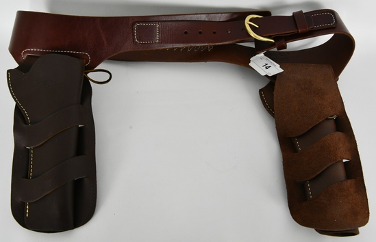 Leather 2 Pistols Holster & Ammo Holster