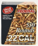 550 Rounds Of Federal .22 LR Ammunition