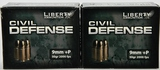40 Rounds Of Liberty Civil Defense 9mm Luger +P