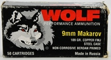 50 Rounds of Wolf 9mm Makarov Ammunition