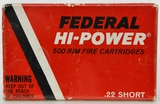 500 Rounds Of Federal Hi-Power .22 Short Ammo
