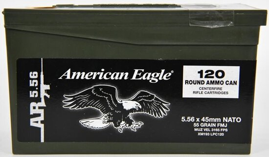 120 Rounds Of American Eagle AR 5.56 Nato Ammo