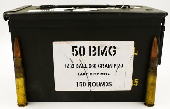 150 Rounds Of Lake City .50 BMG M33 Ammunition