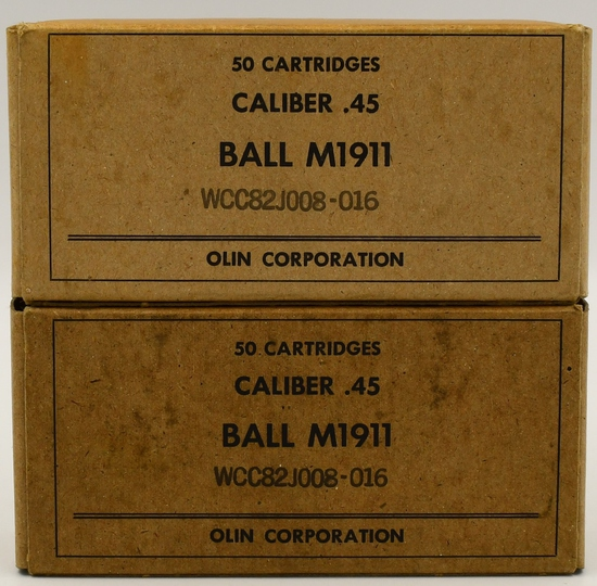 100 Rounds of Military Ball M1911 .45 Auto Ammo