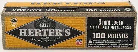 100 Rounds Of Herter's 9mm Luger Ammunition