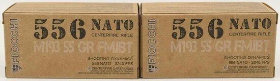100 Rounds Of Fiocchi 5.56 NATO Ammunition