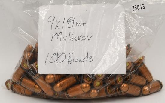 100 Rounds Of 9x18mm Makarov Ammunition