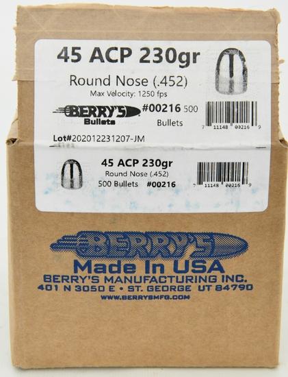 45 ACP 230 Gr RN Berrys Bullets .452 500 count