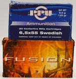 40 Rounds Of Fusion & PPU 6.5x55 Swedish Ammo