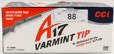 500 Rounds Of CCI Varmint .17 HMR Ammunition