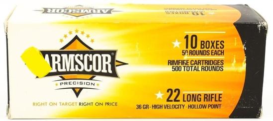500 Rounds Of Armscor USA .22 LR Ammunition