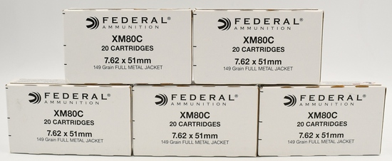 100 Rds Of Federal XM80C 7.62x51mm (.308) Ammo